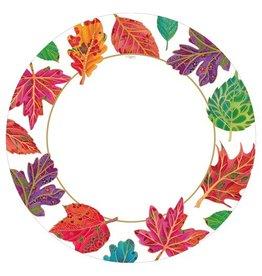 Caspari Dinner Plates 8ct Caspari 12870DP Fall Leaves Jeweled Autumn Ivory