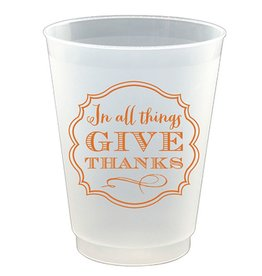 Slant Thanksgiving Frost Flex Cup 16oz 8pk In All Things Give Thanks F133223