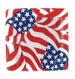 Caspari Paper Plates 9990SP Americana Flag Square Salad-Dessert Plates