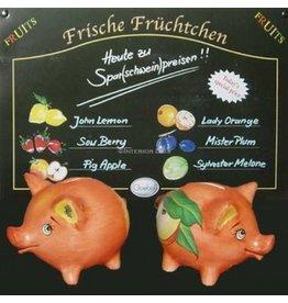 Goebel Piggy Bank Porcelain Orange Pig w Apple