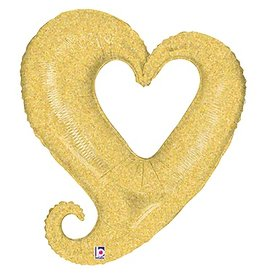 Burton and Burton Love Linky Heart Balloon 37 inch Gold Foil Heart