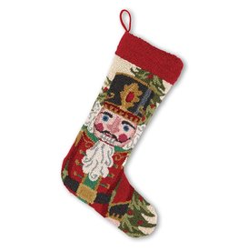 Peking Handicraft Christmas Stocking Nutcracker in Red Hook Stocking by Peking Handicraft