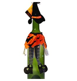 Darice Halloween Witch Wine Bottle Cover Orange w Bats 3115-308-C