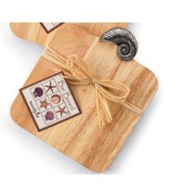 Mud Pie Cutting Boards 10675-B  Wood Bar Board with Nautalis Shell