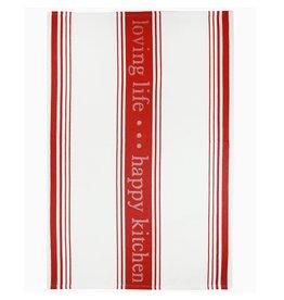 MUkitchen Cotton Jacquard Towel w happy kitchen - loving life -Red