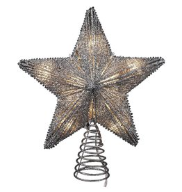 Kurt Adler Christmas Star Tree Topper 10 Light Silver Glitter w Clear Lights 8 inch