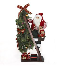 Kurt Adler Santa Decorating Christmas Tree Table Piece 43H