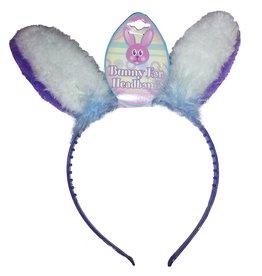 DM Merchandising Bunny Ears Headband Purple and White Ears w LIght Blue Fur