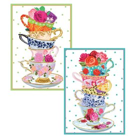 Caspari Blank Note Cards Set of 8 Assorted Tea Cups 84601 Caspari