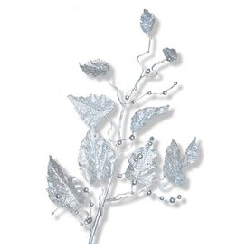 North Star Premier Christmas Flowers Floral Glittered Silver Leaf Spray