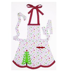 Peking Handicraft Christmas Apron Dots and Christmas Tree Apron