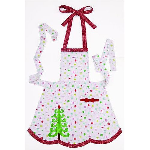 peking handicraft christmas apron dots and christmas tree apron - Christmas Apron