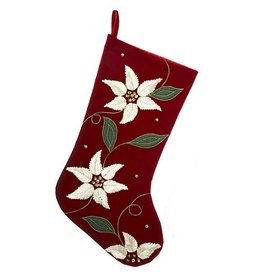 Kurt Adler Christmas Stocking Red Gold Green Poinsettia Stocking