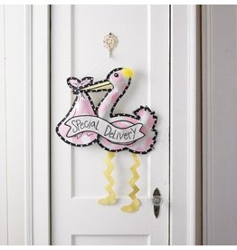 Mud Pie New Baby Girl 380101 Special Delivery Pink Stork Door Hanger