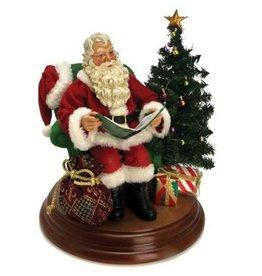 Kurt Adler Fabriche Santa Table Piece Reads Twas the Night Before Christmas