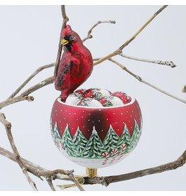 Kurt Adler David Strand Christmas Ornament Cardnial Bird Nest Clip Ornament