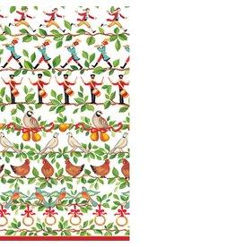 Caspari Paper Guest Napkins 15pk 12040G Christmas 12 Days