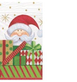 Caspari Christmas Paper Guest Napkins 15pk 11990G Santa with Gifts