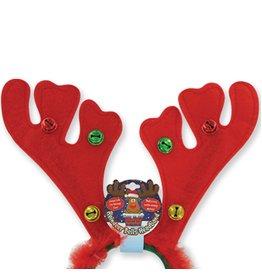 DM Merchandising Reindeer Antler Headband w Jingle Bells n Furry Feathers - Red