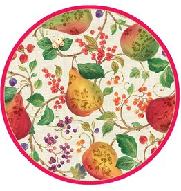 Caspari Holiday Paper Salad-Dessert Plates 8pk 12100SP Decorated Pears