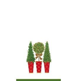 Caspari Paper Guest Napkins 12720G Topiary Stripe Ivory 15Pk