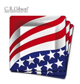 C. R. Gibson Paper Plates TW11-6968 Patriotic Square Dinner Plate