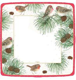 Caspari Christmas Paper Dinner Plates 8pk 12090DP Woodland Birds