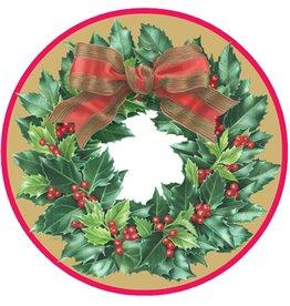 Caspari Christmas Paper Salad-Dessert Plates 8pk 12071SP Holly Wreath