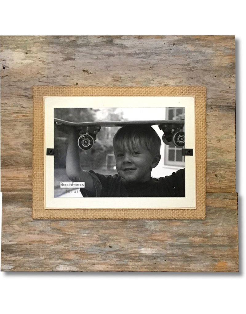 Beach Frames Reclaimed Wood w Burlap Wall Art Rustc Beach Picture Frame 11x11