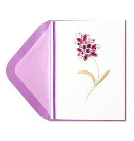 Papyrus Greetings Blank Card Purple & Pink Jeweled Flower by Papyrus