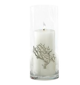 Zodax Glass Cylinder Vase - Candle Holder w Metal Coral Design