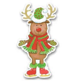 Caspari Christmas Gift Tags 4pk TAG9612 Reindeer Sweater Party Ornament