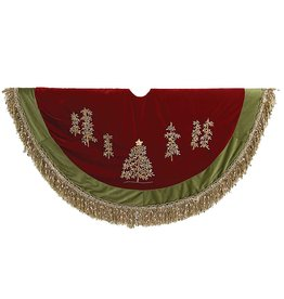 Kurt Adler Christmas Tree Skirt 50D Burgundy Green w Embroidery Trees n Fringe C1202