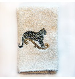 Decorative Embroidered Guest Towel w Leopard