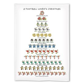 Peking Handicraft Holiday Flour Sack Kitchen Tea Towel A Football Lovers Christmas