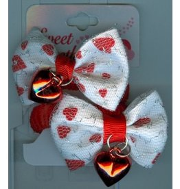 DM Merchandising Valentine's Gifts | PPVAL144N White Bows Hearts Hair Ties