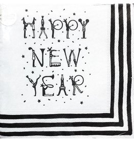 Caspari New Years Party Cocktail Napkins w Black White Stripe Happy New Year 24pk