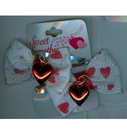 DM Merchandising Valentine's Gifts | PPVAL144BB White bows hearts hair clips
