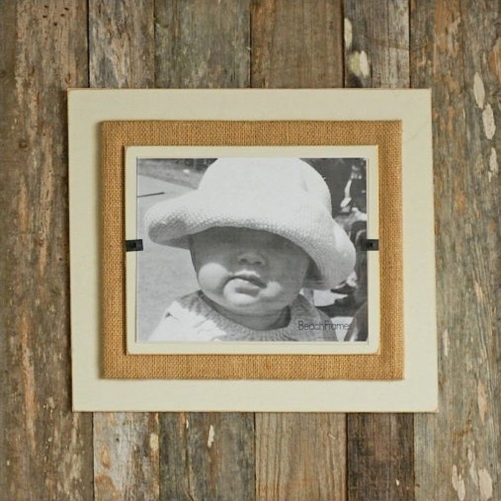 Reclaimed Wood w Burlap Wall Art Rustc Beach Picture Frame 22x22 ...