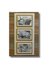 Beach Frames Reclaimed Wood w Burlap Rustc Beach Triple Picture Frame 22x22