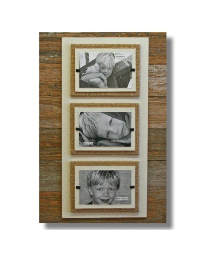 Beach Frames Reclaimed Wood w Burlap Rustc Beach Triple Picture Frame 22x22