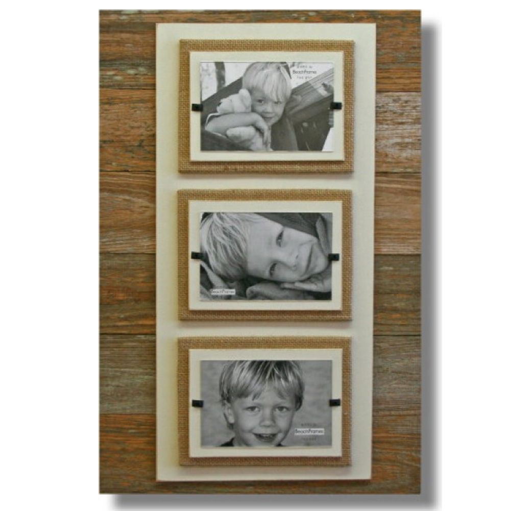 Reclaimed Wood w Burlap Rustc Beach Triple Picture Frame 22x22 ...