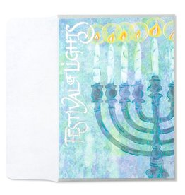 Papyrus Greetings Chanukah Card Menorah w Calligraphy by Papyrus