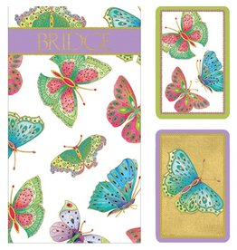Caspari Bridge Gift Set w 2 Card Decks 2 Score Pads Butterflies GS117 Caspari