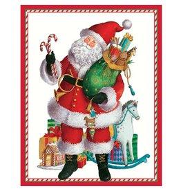 Caspari Christmas Gift Card Holders 4pk 9547ENC Coming to Town Santa