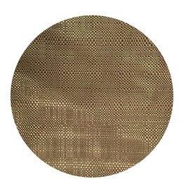 Harman Trace Basketweave Round Placemat Vinyl 14 Inch Linen
