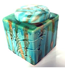 Digs Decorative Turquoise Square Jar 10744CBX-TQ Napa Home and Garden