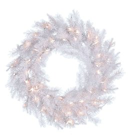 Kurt Adler White Christmas Wreath Pre-Lit w Clear WW Lights 30 inch