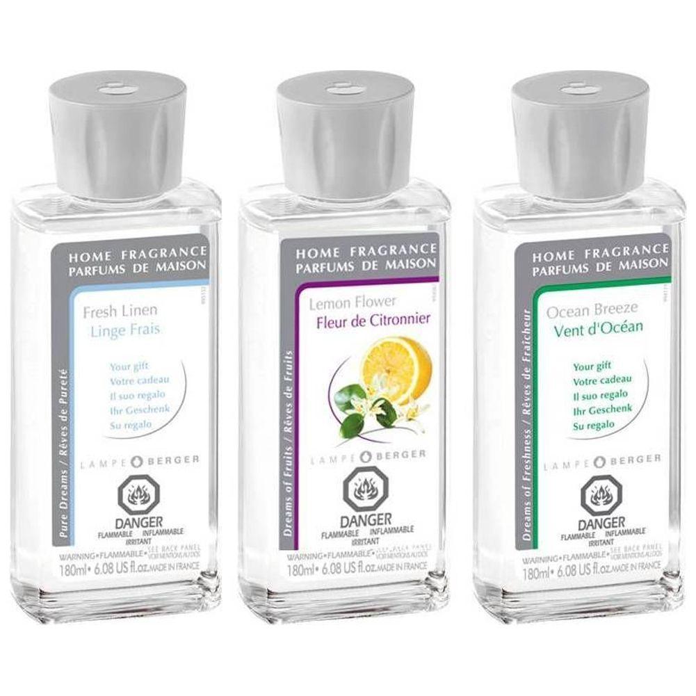 Lampe Berger Oil Liquid Fragrance 180ml Tri Pack 023936 Fresh Trio Pack II  ...