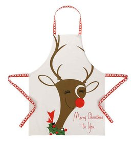 Peking Handicraft Christmas Apron w Vintage Style Reindeer by Peking Rosanna